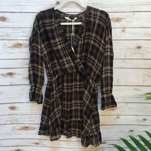 NWT Zara Brown Checkered Dress Size Small